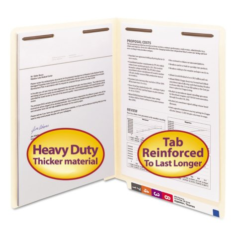Smead Heavyweight Reinforced Straight End Tab Two Fastener 14 Pt. Stock File Folder, Manila (Letter, 50ct.)