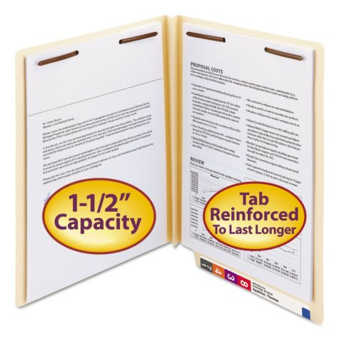 "Smead 1 1/2"" W-Fold Expansion Heavyweight File Folders, Straight End Tab, Two Fasteners, Letter, Manila, 50ct."