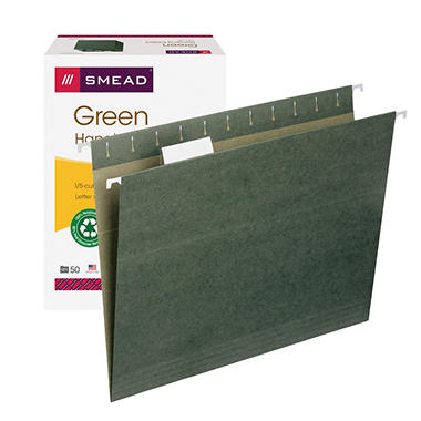 Smead 1/5 Cut Adjustable Positions Hanging File Folders, Standard Green (Letter, 50ct.)