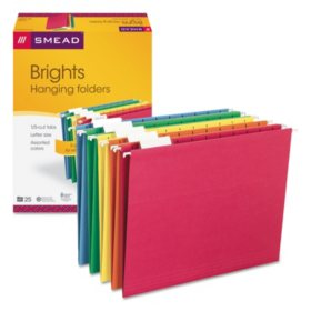 Smead 1/5 Cut Adjustable Positions Hanging File Folders, Letter, 25ct., Select Color Assortment