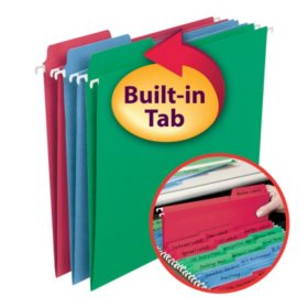 Smead 1/3 Cut Assorted Position FasTab® Hanging File Folder, Assorted Colors (Letter, 30ct.)