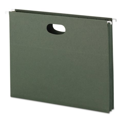 """Smead 1 3/4"""" Hanging File Pockets with Sides, Standard Green (Letter, 25ct.)"""