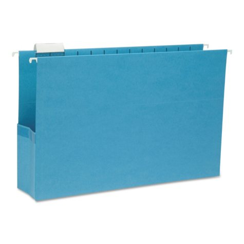 "Smead 3"" Capacity Closed Side Flexible Hanging File Pockets, Sky Blue (Legal, 25ct.)"