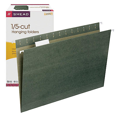 Smead 1/5 Cut Adjustable Positions Hanging File Folders, Standard Green (Legal, 50ct.)