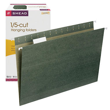 Smead 1/5 Cut Adjustable Positions Hanging File Folders, Legal, Standard Green, 50ct.