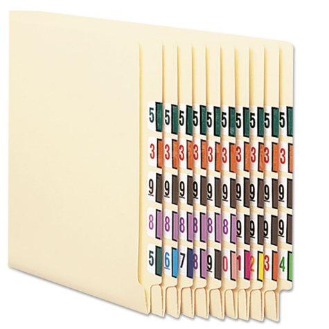 Smead Single Digit End Tab Labels, Color 0-9 Assortment, 500/Roll, 5000 Labels