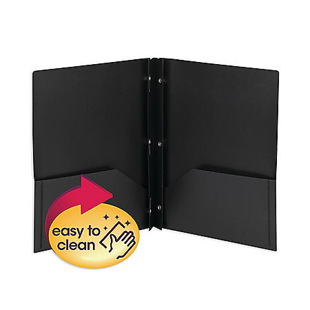 Smead Poly Two-Pocket Folder with Fasteners, Letter, Black, 25ct.