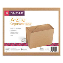 Smead 21 Pocket A-Z Indexed Expanding Files, Cord Closure, Kraft, Letter, Brown