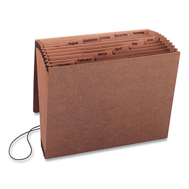 Smead 12 Pocket Jan-Dec TUFF Accordion Expansion File, Cord Closure, Letter, Redrope