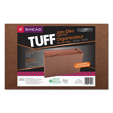 Smead 12 Pocket Jan-Dec TUFF Accordion Expansion File, Open Top, Legal, Redrope