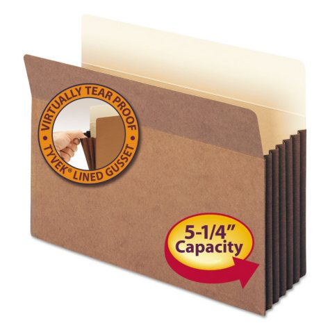 """Smead 5 1/4"""" Accordion Expansion File Pocket, Straight Tab, Letter, Redrope, 10ct."""