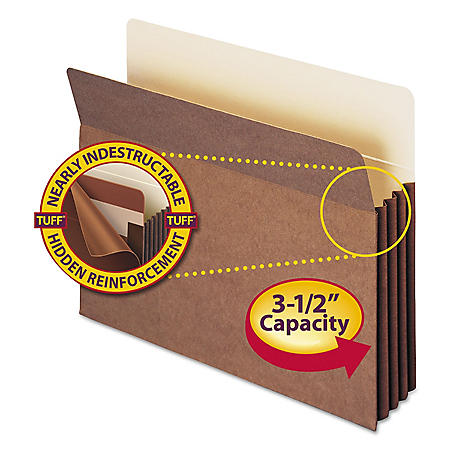 "Smead 3 1/2"" Accordion Expansion File Pocket with Tyvek, Straight Tab, Letter, Redrope, 10ct."