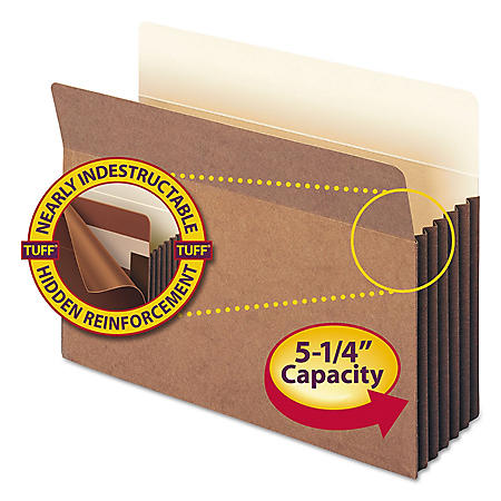 """Smead 5 1/4"""" Straight Tab Accordion Expansion File Pocket with Tyvek, Redrope (Letter, 10ct.)"""