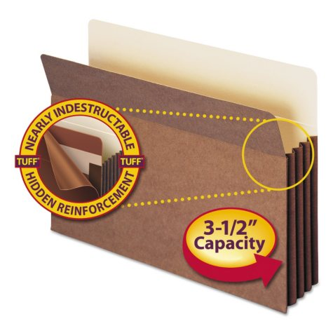"""Smead 3 1/2"""" Accordion Expansion File Pocket with Tyvek, Straight Tab, Legal, Redrope, 10ct."""