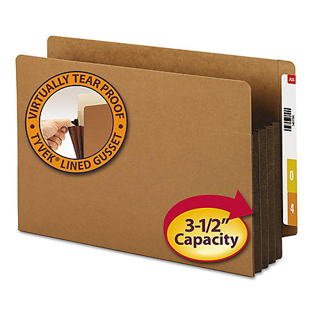 "Smead 3 1/2"" Accordion Expansion File Pockets, Straight Tab, Legal, Brown,  10ct."