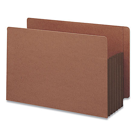 """Smead 5 1/4"""" Accordion Expansion File Pockets, Straight Tab, Legal, Brown, 10ct."""