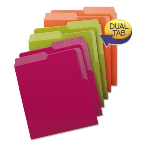 Smead® Organized Up Heavyweight Vertical Folders, Assorted Bright Tones, 6pk.