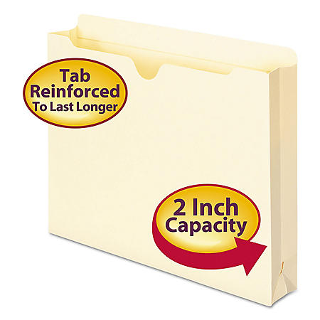 "Smead 2"" Expansion File Jackets, Manila (Letter, 50ct.)"