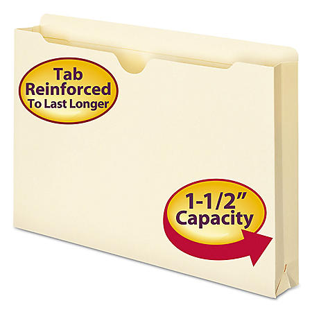 """Smead 1 1/2"""" Expansion File Jackets, Legal, Manila, 50ct."""