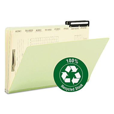 Smead Metal Tab Pressboard Mortgage File Folder with Dividers, Legal, Green, 10ct.