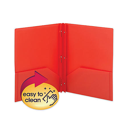 Smead Poly Two-Pocket Folder with Fasteners, Letter, Red, 25ct.