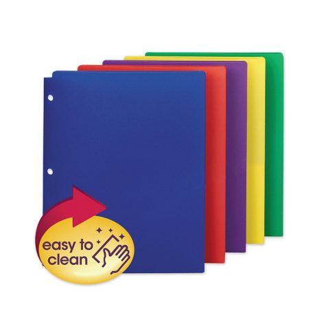 "Smead Campus.org Poly Snap-In Two-Pocket Folder,  Assorted Colors (11"" x 8 1/2"", 10 pk.)"
