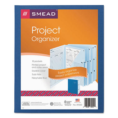 Smead 1/3 Cut Tab Project Organizer Expanding File, 10 Pockets, Lake/Navy Blue