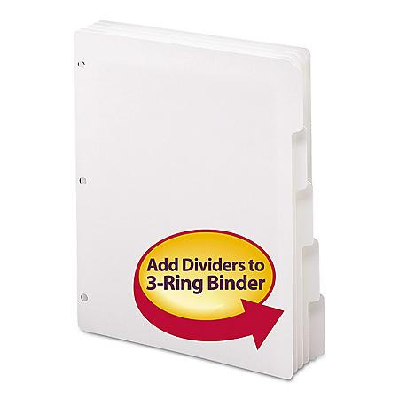 Smead® Three-Ring Binder Index Divider, 5-Tab, White