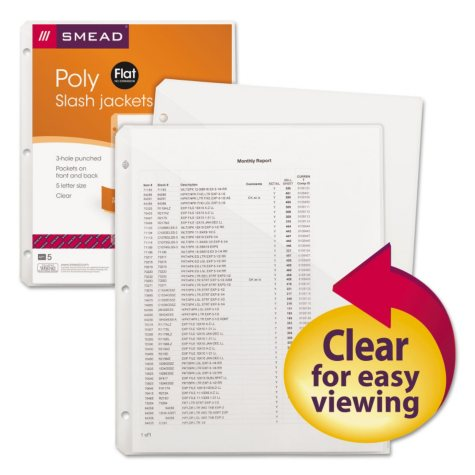 Smead Organized Up Poly Slash Jackets, Letter, Clear, 5ct.