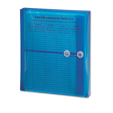 """Smead - Poly String & Button Booklet Envelope, 9 3/4"""" x 11 5/8"""" x 1 1/4"""", Blue - 5 ct."""