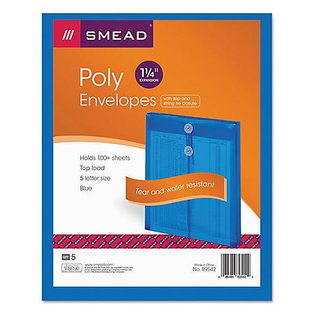 "OFFLINE- Smead 1 1/4"" Top Load String & Button Booklet Envelope, Poly, Letter, Blue, 5ct."