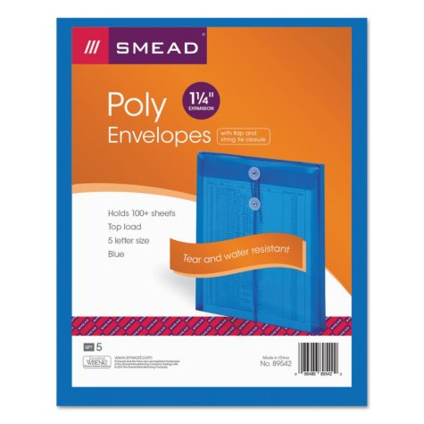 "Smead 1 1/4"" Top Load String & Button Booklet Envelope, Poly, Letter, Blue, 5ct."