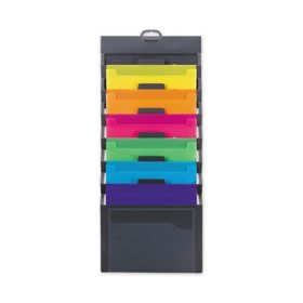 "Smead Cascading Wall Organizer, Gray with 6 Bright Color Pockets (14 1/4"" x 33"", Letter)"