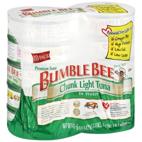 Bumble Bee Chunk Light Tuna in Water (5 oz. can, 10 ct.)