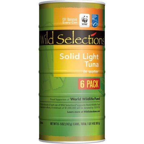 Wild Selections Solid Light Tuna in Water (5 oz., 6 pk.)