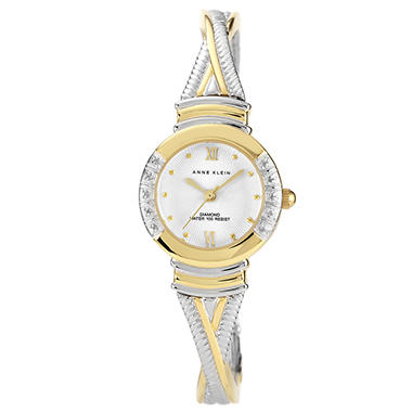 Anne Klein Bangle Watch with Diamond Accents