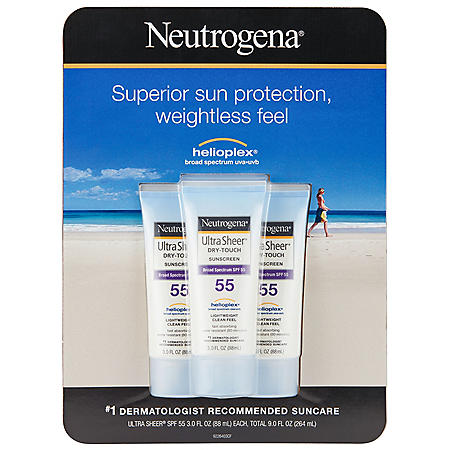 Neutrogena Ultra Sheer Dry Touch Water Resistant Sunscreen, SPF 55 (3.0 fl. oz., 3 pk.)