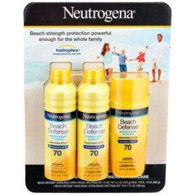 Neutrogena Beach Defense SPF 70 Sunscreen Spray & Lotion Mix Pack (6.5 oz. sprays + 6.7 oz. lotion)