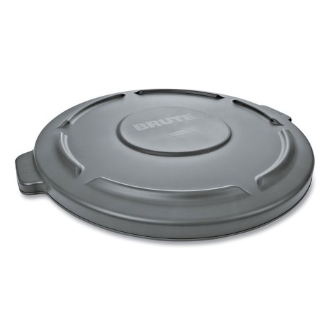 "Rubbermaid Commercial Round Flat Top Lid, for 32-Gallon Round Brute Containers, 22 1/4"" (Gray)"