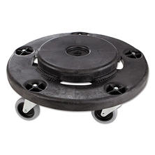 "Rubbermaid Commercial - Brute Round Twist On/Off Dolly, 250lb Capacity, 18"" diameter x 6 5/8 height - Black"