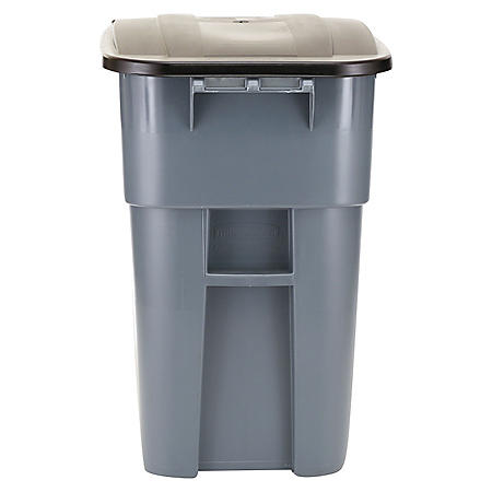 Rubbermaid Commercial - Brute Rollout Container, Square, Plastic, 50gal -  Gray