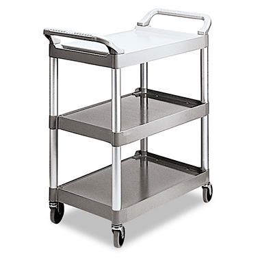 Rubbermaid Three-Shelf Service Cart - Platinum