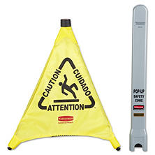 "Rubbermaid Commercial - Multilingual ""Caution"" Pop-Up Safety Cone, 3-Sided, Fabric, 21 x 21 x 20 -  Yellow"