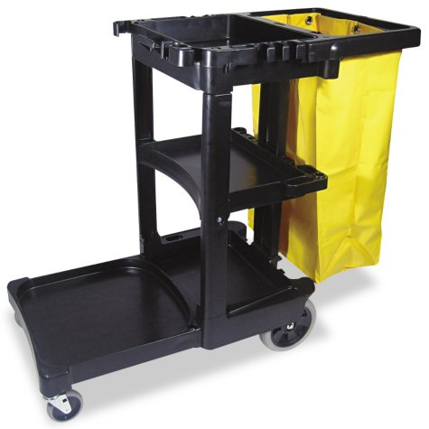 Rubbermaid Cleaning Cart w/Zippered Bag, Black (3 Shelves)
