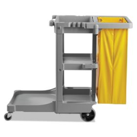 "Boardwalk Janitor's Cart, Three-Shelf - Gray (22"" x 44"" x 38"")"