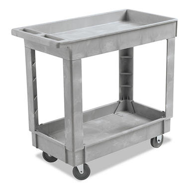 Boardwalk Utility Cart, Two-Shelf, Swivel Casters, Resin - Gray (Choose Your Size)
