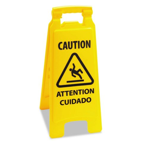 """Boardwalk Caution Safety Sign For Wet Floors, 2-Sided, Plastic - Yellow (11"""" x 1 1/2"""" x 26"""")"""