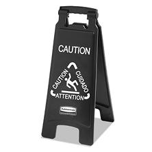 Rubbermaid Commercial 2-Sided Multi-Lingual Caution Sign - Black and White