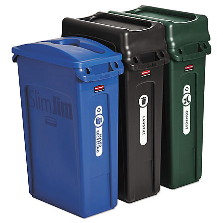 Rubbermaid Commercial SlimJim Waste Can Bundle (23gal., 3 pk.)