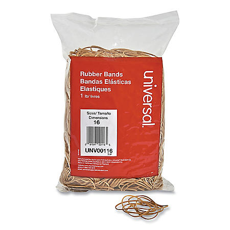 "Universal® Rubber Bands, Size 16, 2-1/2"" x 1/16"", 1900 Bands/1lb Pack"